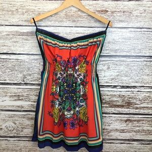 Jump Strapless Scarf dress Orange Navy Large